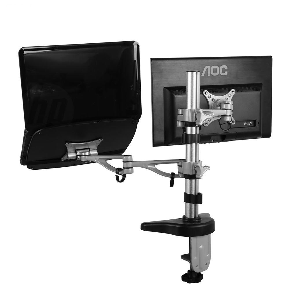 Dual arm Desk Laptop Mount LCD Arm for 10 in. - 27 in. Co...