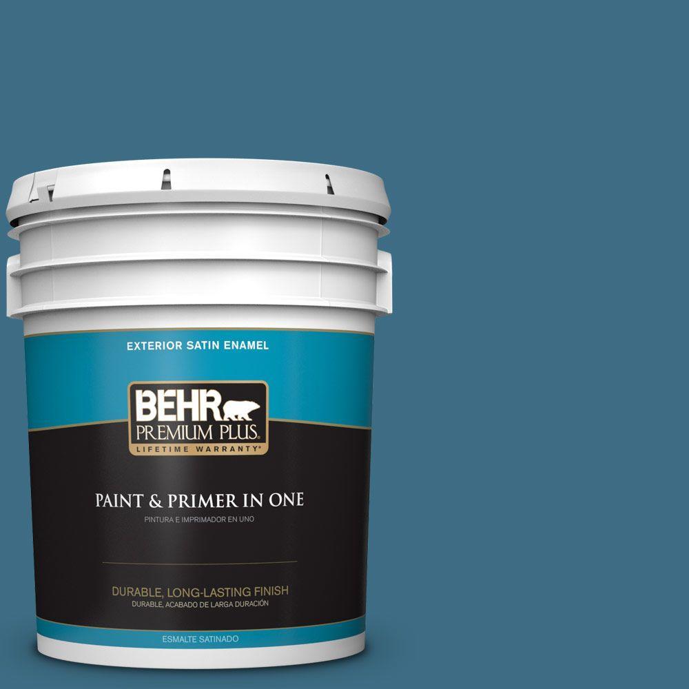 5-gal. #S490-6 Bering Wave Satin Enamel Exterior Paint