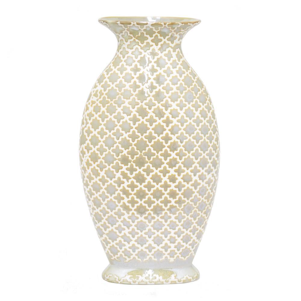 Ceramic Vasein Gold and White