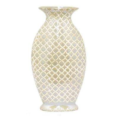 Ceramic Vase in Gold and White