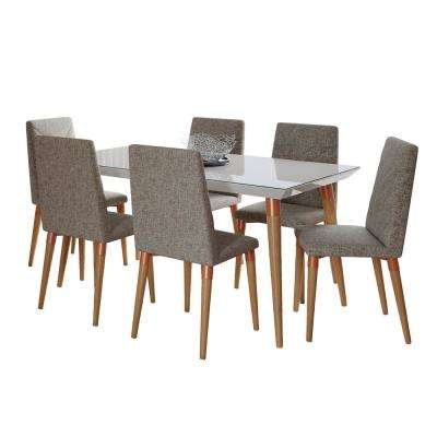 Utopia 62.99 in. 7-Piece Off-White and Grey Dining Set