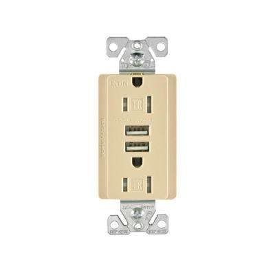 15 Amp 125-Volt Combination Outlet and 2 USB 3.1 Amp Charger with Duplex Receptacle, Ivory