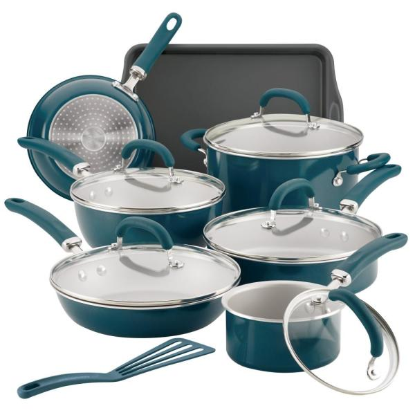 Rachael Ray Create Delicious 13-Piece Teal Shimmer Aluminum Nonstick Cookware Set