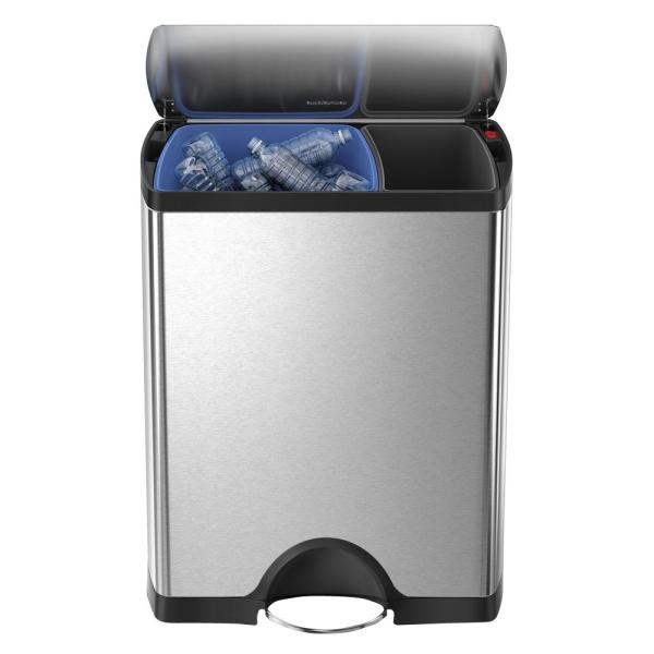 46-Liter Fingerprint-Proof Brushed Stainless Steel Rectangular Recycling Step-On Trash Can