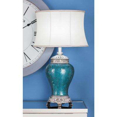 31 in. x 18 in. Modern Polystone Mosaic Oval Table Lamp