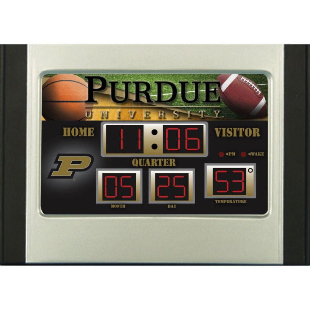 null Purdue University 6.5 in. x 9 in. Scoreboard Alarm Clock with Temperature