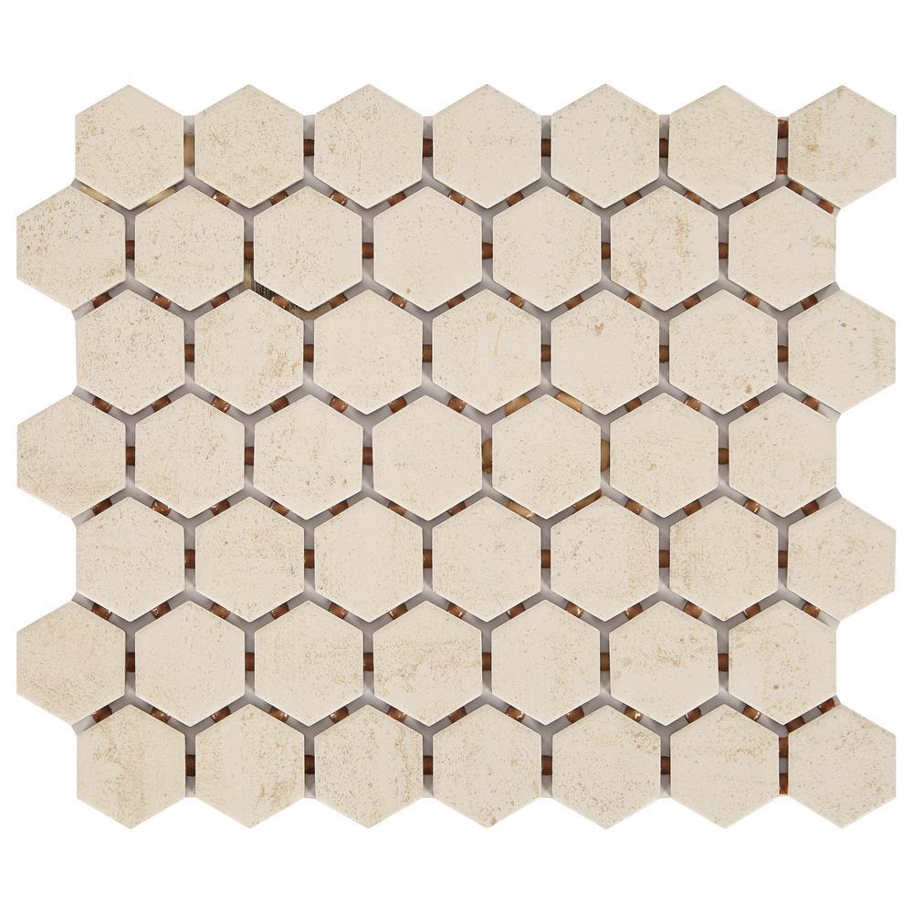 LuxeCraft Hexagon 10 in. x 12 in. x 6.35mm Alabaster Glazed Ceramic Mosaic Tile (0.81 sq. ft. / piece)