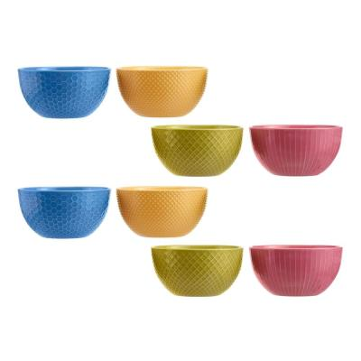 StyleWell 8-Piece Textured Mix & Match Stoneware Bowl Set (Service for 8)