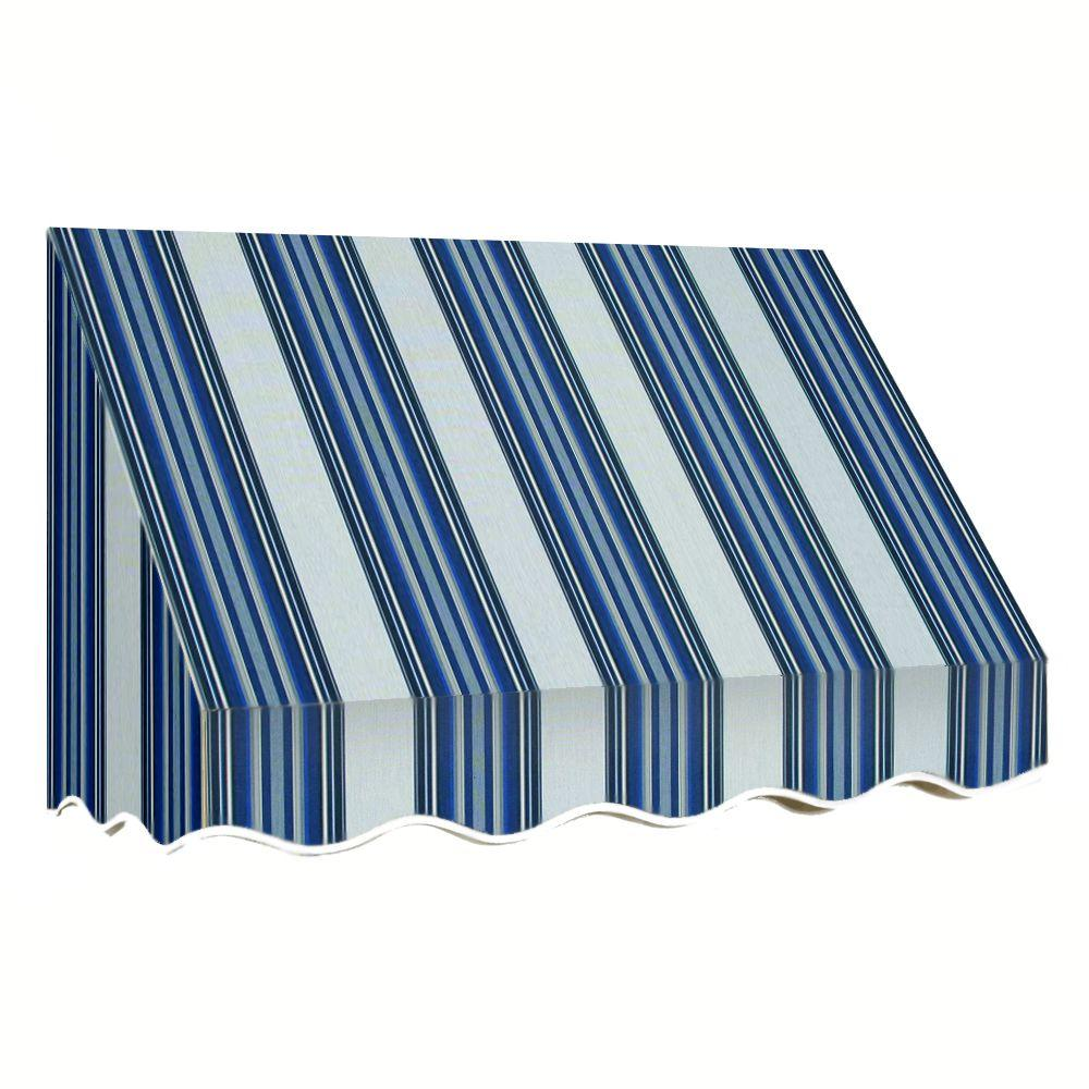 AWNTECH 18 ft. San Francisco Window Awning (44 in. H x 24 in. D) in Navy/Gray/White Stripe, Blue