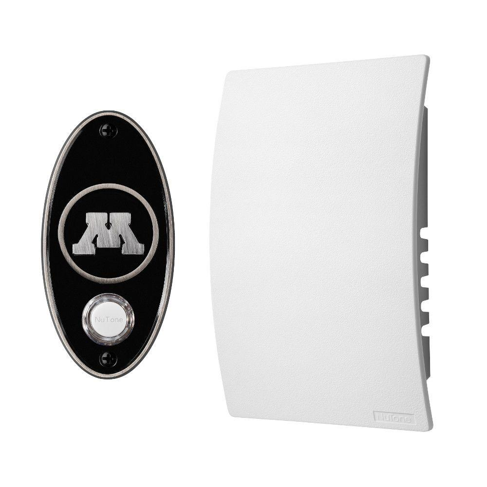 NuTone College Pride University of Minnesota Wired/Wireless Door Chime Mechanism and Pushbutton Kit - Satin Nickel