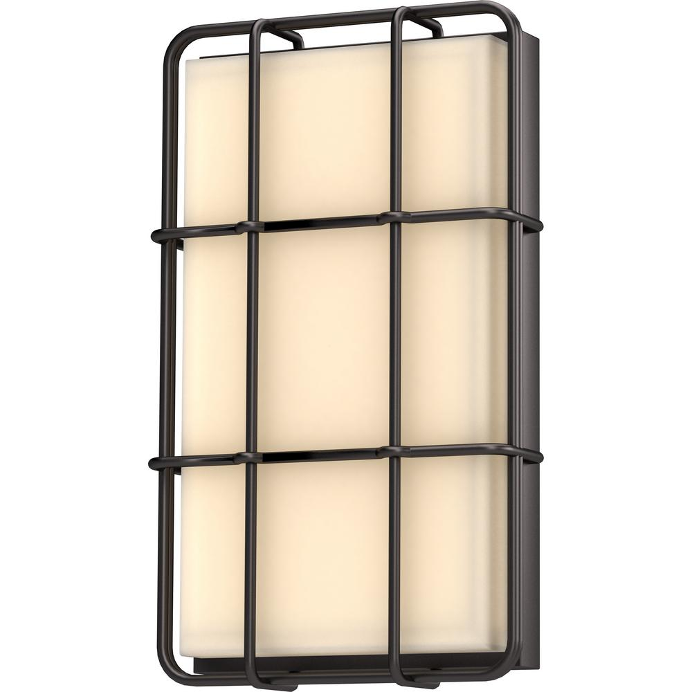 Volume Lighting 1 Light Antique Bronze Integrated Led Outdoor Indoor Wall Mount Lantern Sconce With Caged White Gl