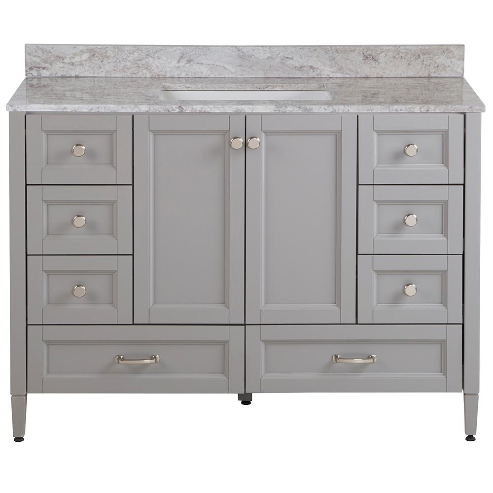 Home Decorators Collection Claxby 49 in. W x 22 in. D Bath Vanity in Sterling Gray with Stone Effect Vanity Top in Winter Mist with White Sink