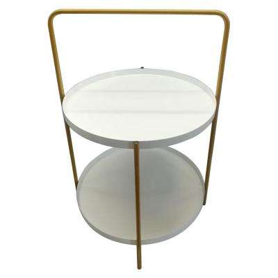 23.5 in. White Metal Tray Table