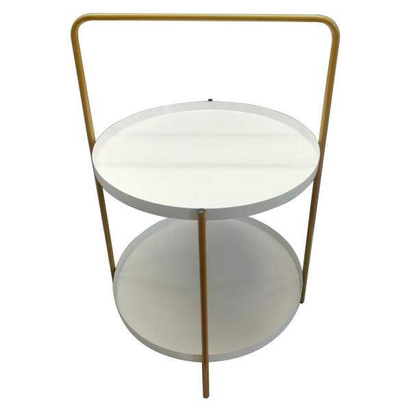 Awe Inspiring 23 5 In White Metal Tray Table Home Remodeling Inspirations Cosmcuboardxyz