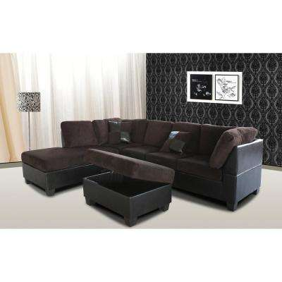 Taylor 2-Piece Chocolate Brown Corduroy Sectional