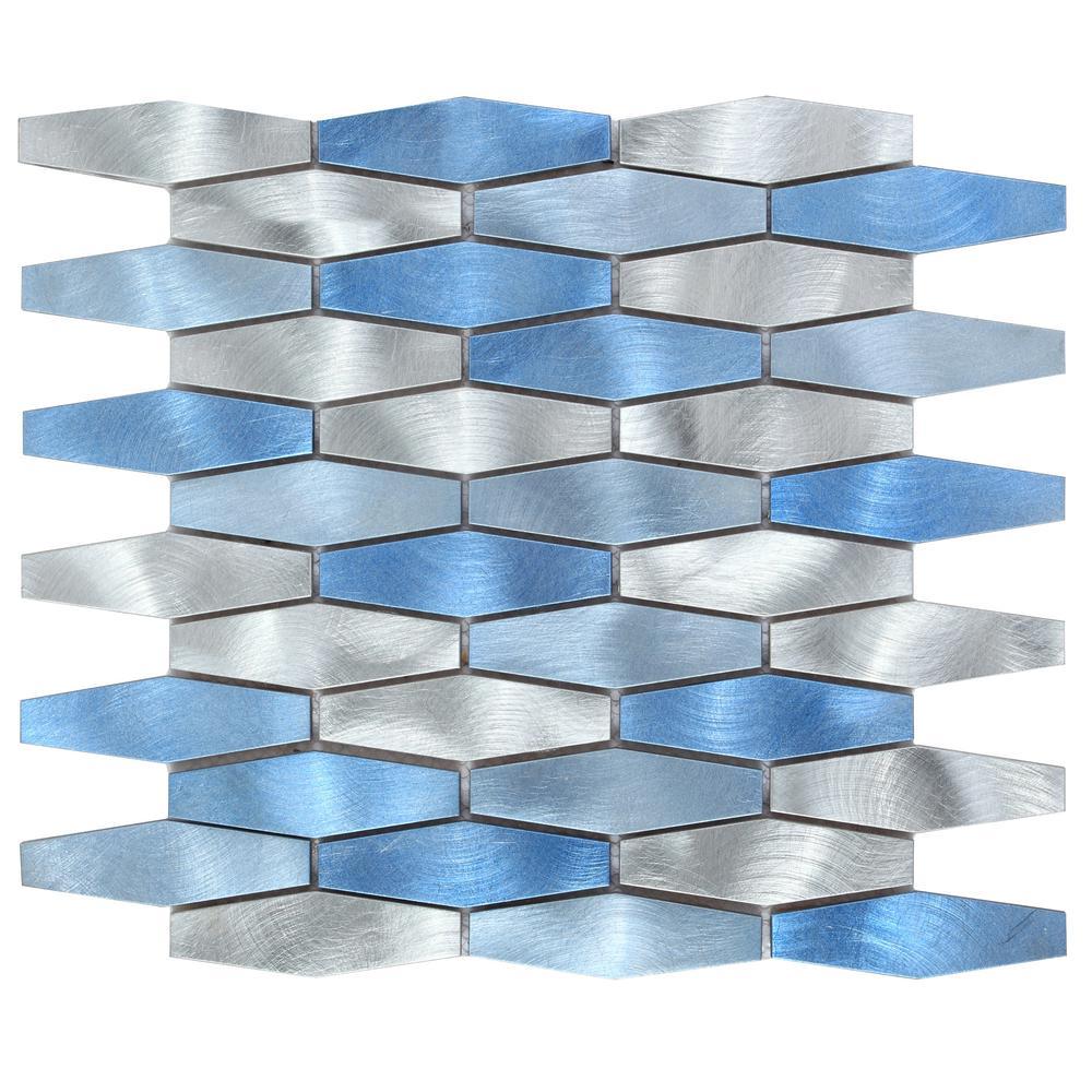 CHENX 11.81 in. x 13.98 in. Multi-Surface Backsplash in Blue/Silver (12.61 sq. ft. / case)