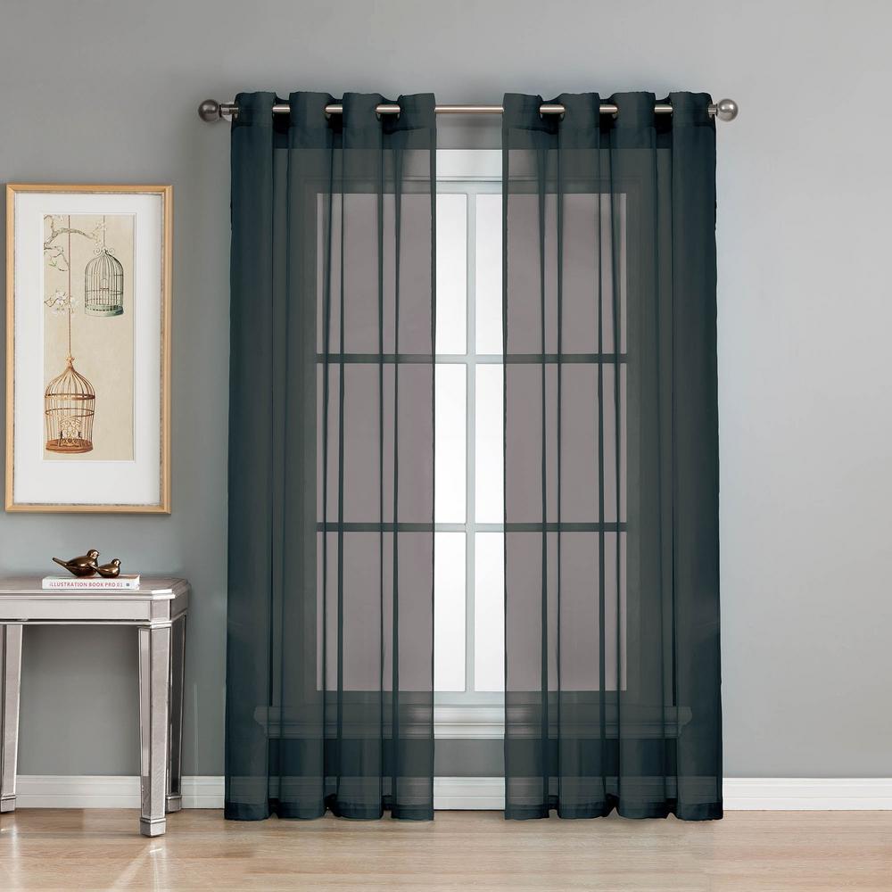 Sheer Sheer Elegance 84 in. L Grommet Curtain Panel Pair, Black (Set of 2)