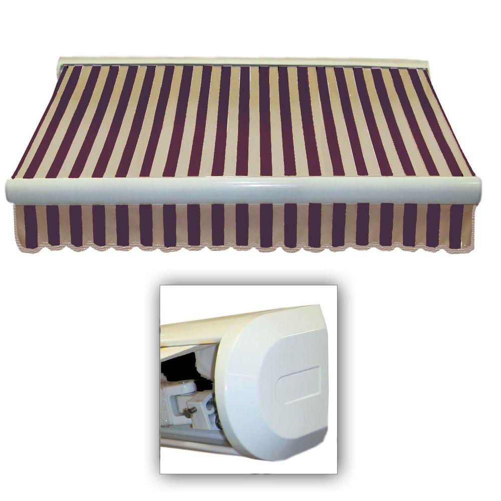AWNTECH 24 ft. Key West Right Motorized Retractable Awning (120 in. Projection) in Brown/Tan Stripe
