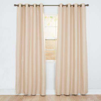 Blackout Linen Look Champagne Polyester Blackout Curtain