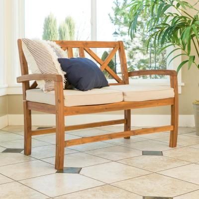 Acacia Wood Outdoor Patio X-Back Loveseat with Cushions - Brown