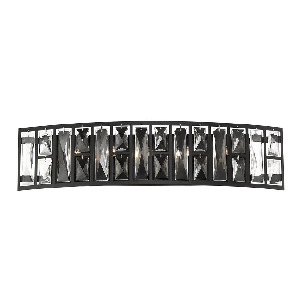 Home Decorators Collection Kristella 24 in. 5-Light Matte Black Vanity Light with Clear Crystal Shade