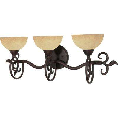 3-Light Old Bronze Vanity Light with Tuscan Suede Glass