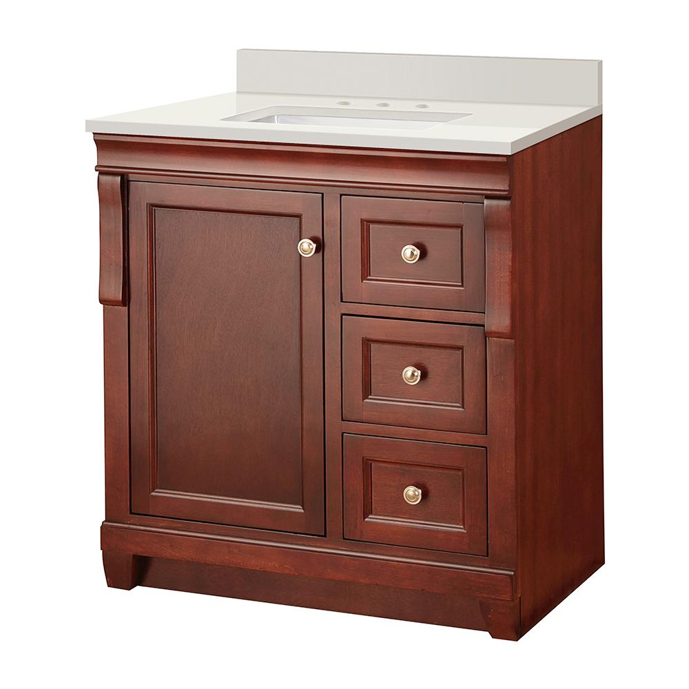 Home Decorators Collection Naples 31 in. W x 22 in. D Vanity in Tobacco with Engineered Marble Vanity Top in Winter White with White Sink