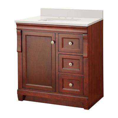Naples 31 in. W x 22 in. D Vanity in Tobacco with Engineered Marble Vanity Top in Winter White with White Sink