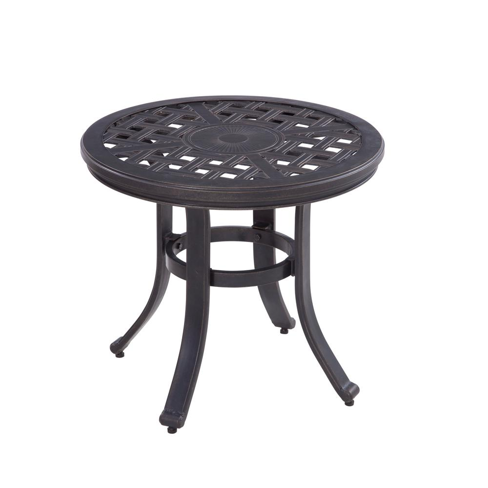 hampton bay covina round aluminum outdoor side table as j 252 3net the home depot. Black Bedroom Furniture Sets. Home Design Ideas