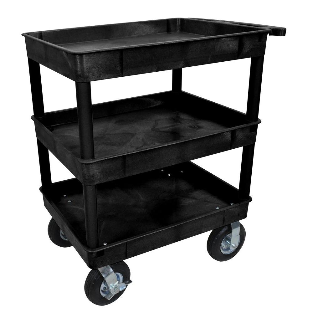 Luxor 24 in. x 32 in. 3-Tub Shelf Plastic Utility Cart with 8 in ...