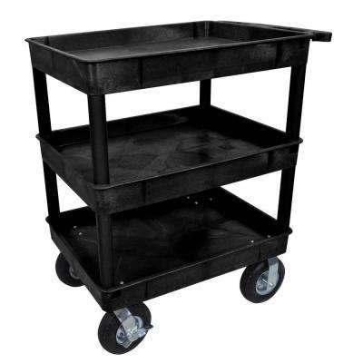 24 in. x 32 in. 3-Tub Shelf Plastic Utility Cart with 8 in. Pneumatic Casters, Black