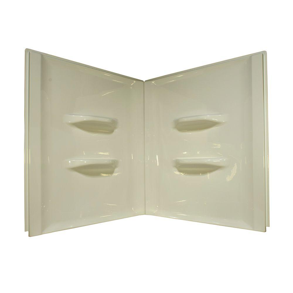 Lyons Industries Sea Wave 48 in. x 48 in. x 52 in. 2-Piece Direct-to-Stud Shower Wall Kit in Biscuit