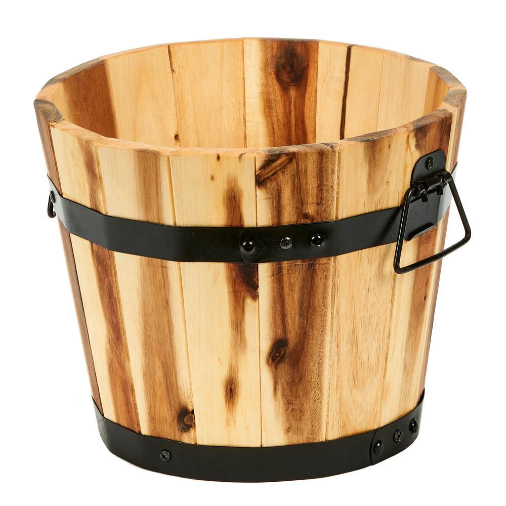 11 in. Dia x 9 in. H Brown Wood Bucket Barrel