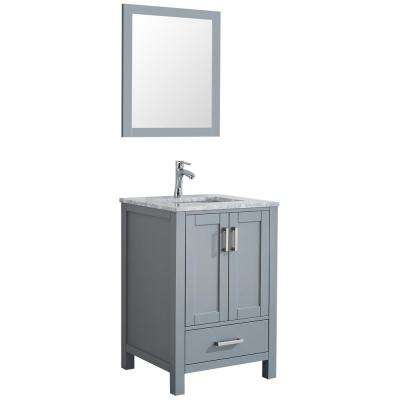 Amaya 24 in. Bathroom Vanity in Grey with Marble Vanity Top in Cararra White with White Ceramic Basin and Mirror