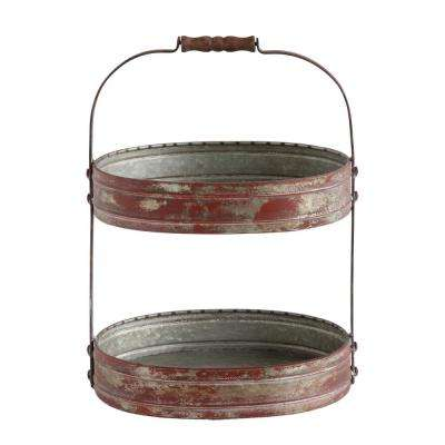 17-1/2 in. H 2-Tier Red Tray