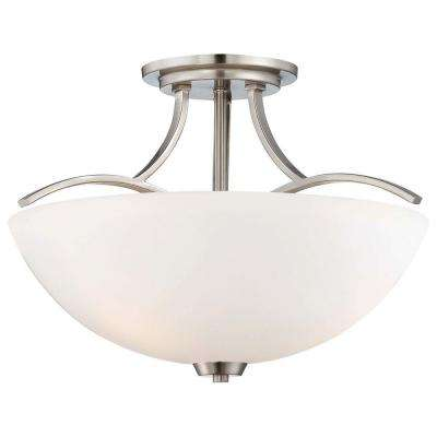 Overland Park 3-Light Brushed Nickel Semi-Flush Mount Light