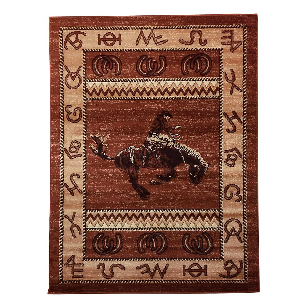 DonnieAnn Lodge Design Cowboy Brown 5 Ft. 2 In. X 7 Ft