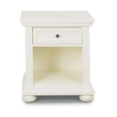 Dover 1-Drawer White Nightstand