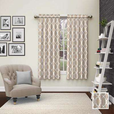 Vickery 63 in. L Polyester Rod Pocket Drapery Panel Pair in Taupe