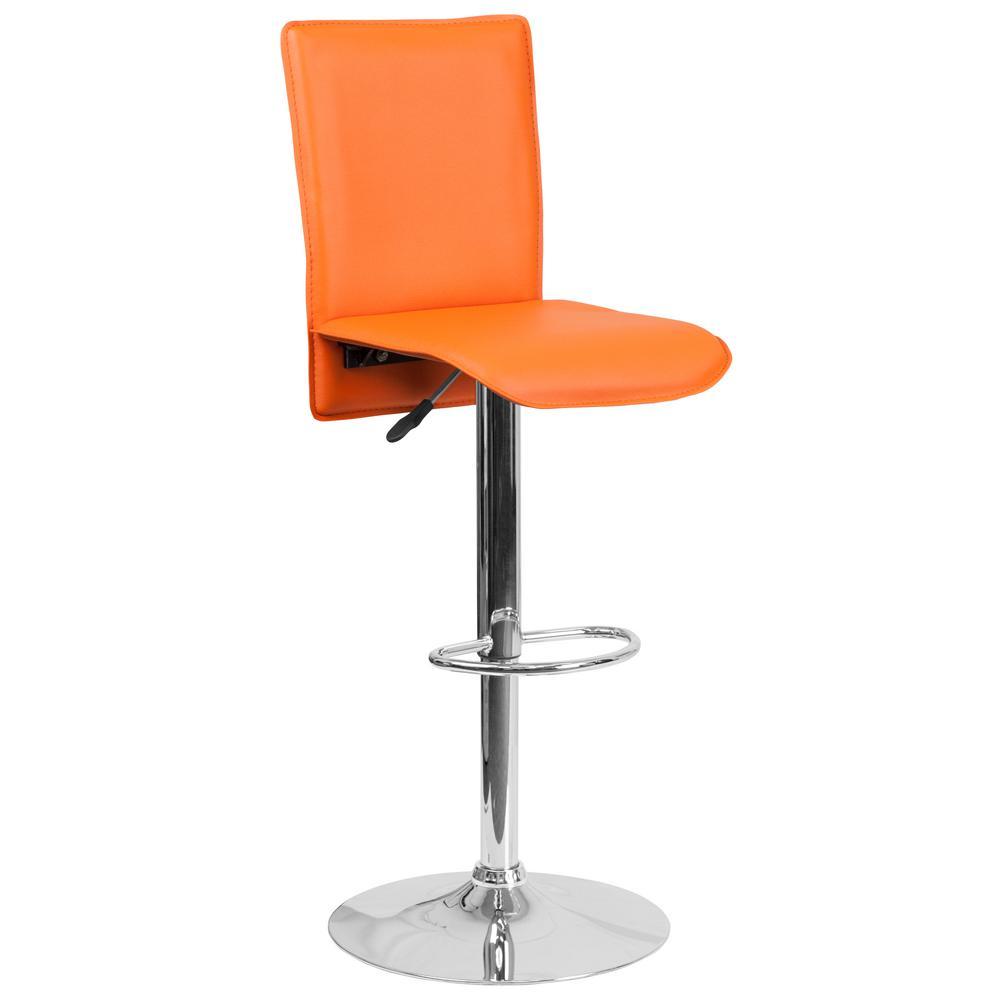 31.75 in. Adjustable Height Orange Cushioned Bar Stool