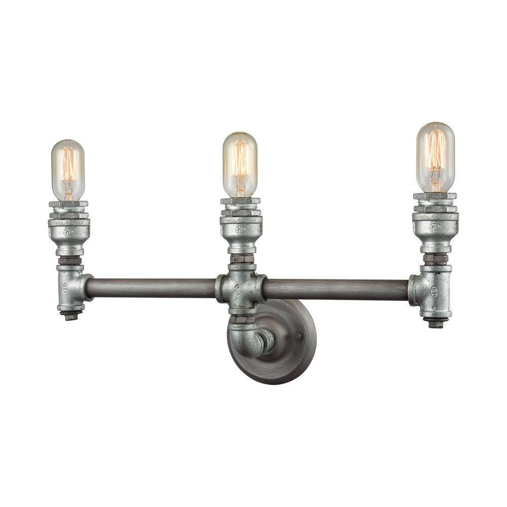 Cast Iron Pipe 3-Light Weathered Zinc Vanity Light
