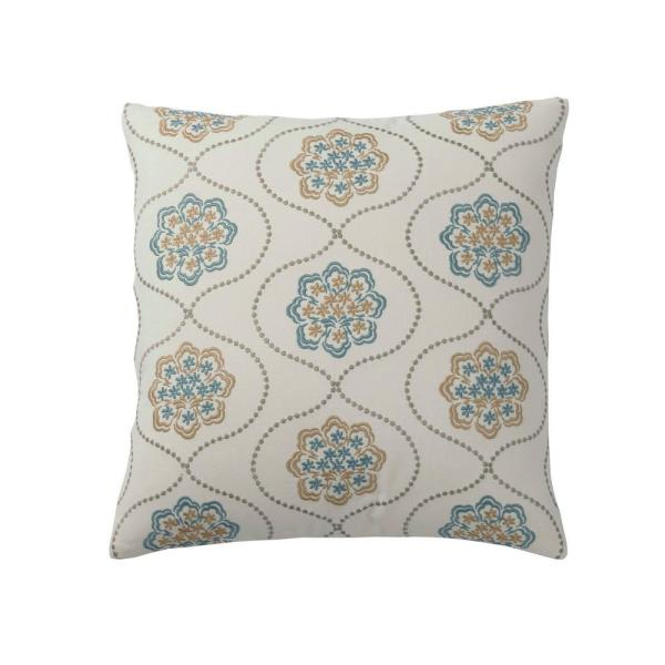 Embroidered Neutral Damask 18 in. x 18 in. Decorative Throw Pillow Cover