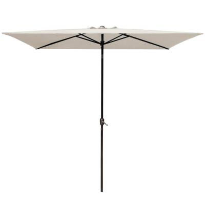 6.5 x 10 ft. Rectangular Market Outdoor Umbrella Table with Push Button Tilt and Crank in Beige