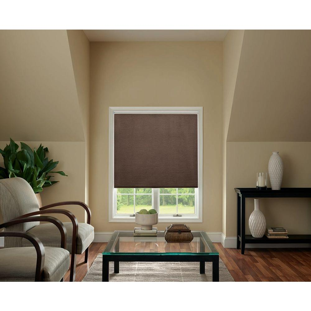 Bali Cut-to-Size Chocolate UV Blocking Solar Roller Shade - 28 in. W x 72 in. L