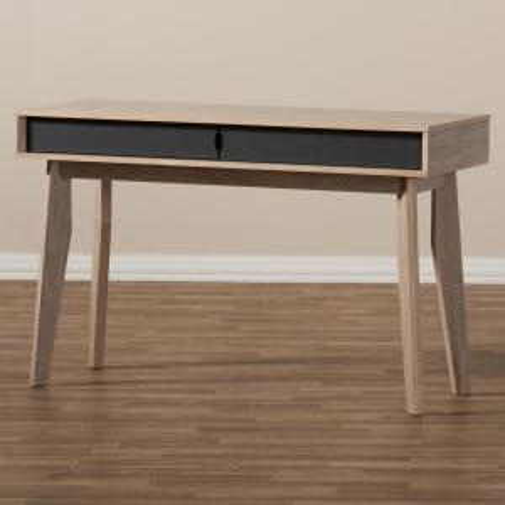 Baxton Studio 2 Drawer Fella Light Brown Wood Desk 28862