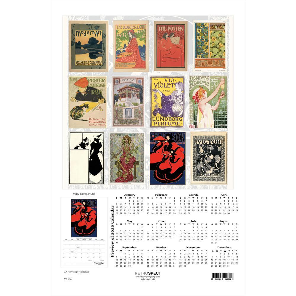 19 in. x 12.5 in. Art Nouveau Graphics - 2019 Calendar