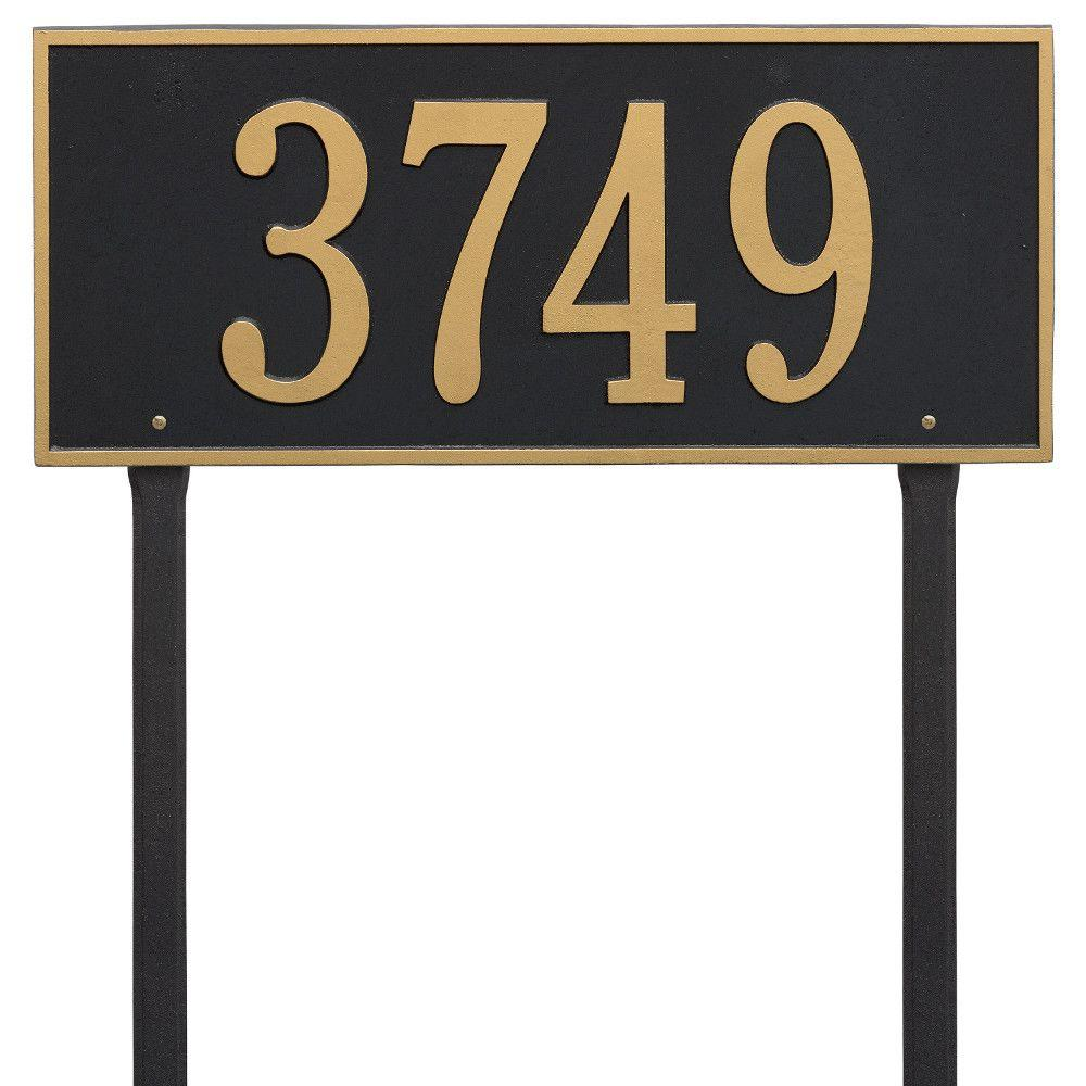 Hartford Rectangular Black/Gold Estate Lawn 1-Line Address Plaque