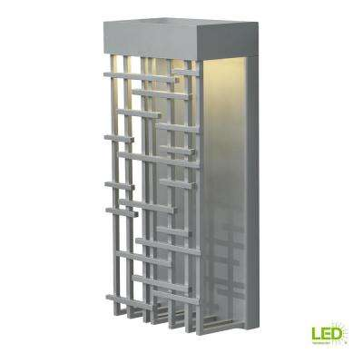 1-Light Silver Outdoor 14.5 in. Pier 60 LED Wall Light