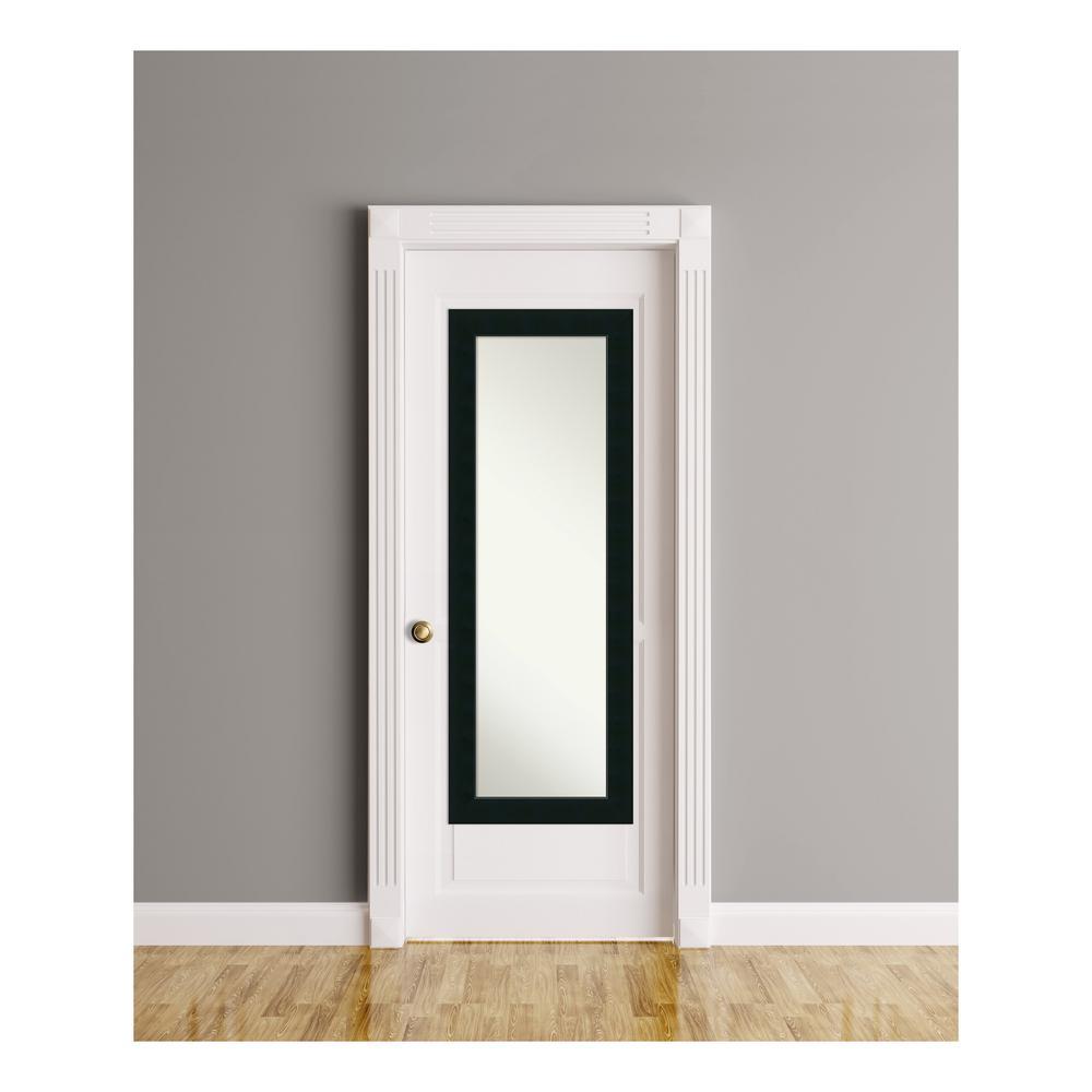 Corvino Black wood 19 in. W x 53 in. H On The Door Mirror