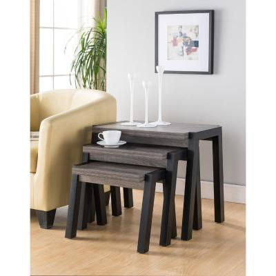 Modern Gray and Black Showcasing End Tables